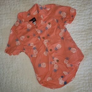 Boys button-front pineapple shirt